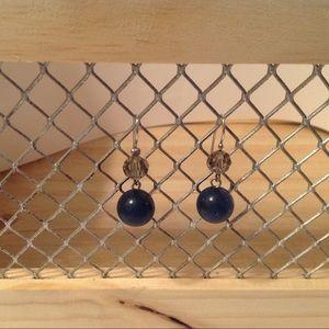 Silver Tone Navy Blue Dangle Earrings
